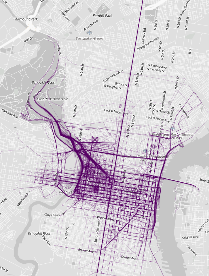 Where people run in Philadelphia, based on data from RunKeeper. The dark line going all the way down Broad Street is certainly a result data from the Broad Street Run.