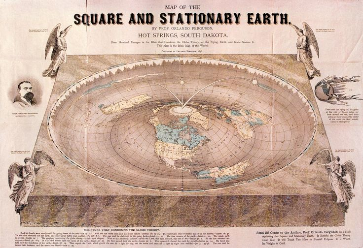 """Map of the Square and Stationary Earth"" by Orlando Ferguson. Source: The History Blog"