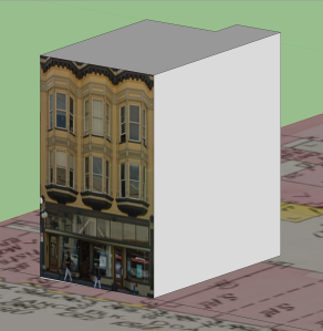 Building volume from Sanborn map, with stretched front facade.